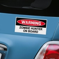 Warning Zombie Hunter On Board Decal